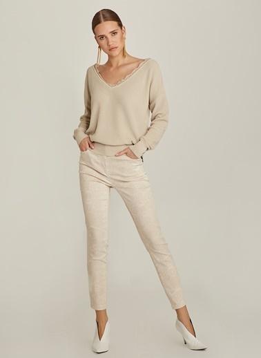 NGSTYLE Skinny Yılan Desenli Pantolon Bej
